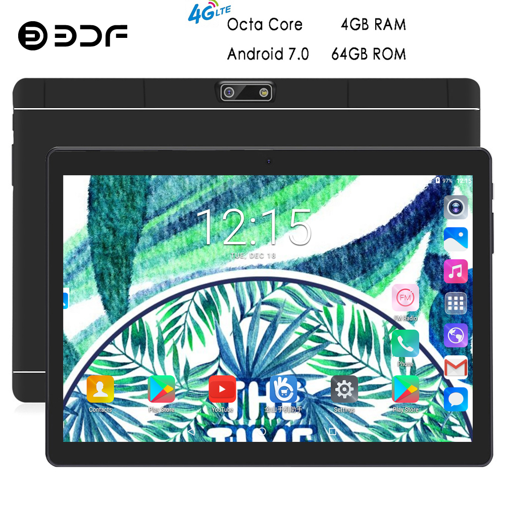 BDF 10 Inch Tablets Pc Android 7.0 Octa Core 4GB/64GB Dual SIM Card Built-in-4G LTE Tablet 1280*800 IPS Mobile Phone Tablet 10.1