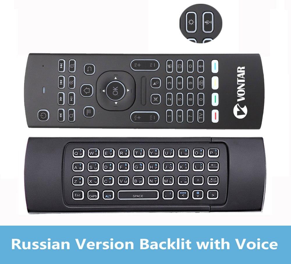 Русский Английский Подсветка MX3 PRO Air Мышь с голосом MX3 Беспроводной клавиатура дистанционного Управление 2,4 г ИК обучения для Android ТВ коробка