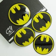 цена на Universal 4pcs 60mm Batman Logo Car Auto Motorcycle Steering Wheel Center Hub Cap Emblem Badge Decal Symbol Stickers 0002