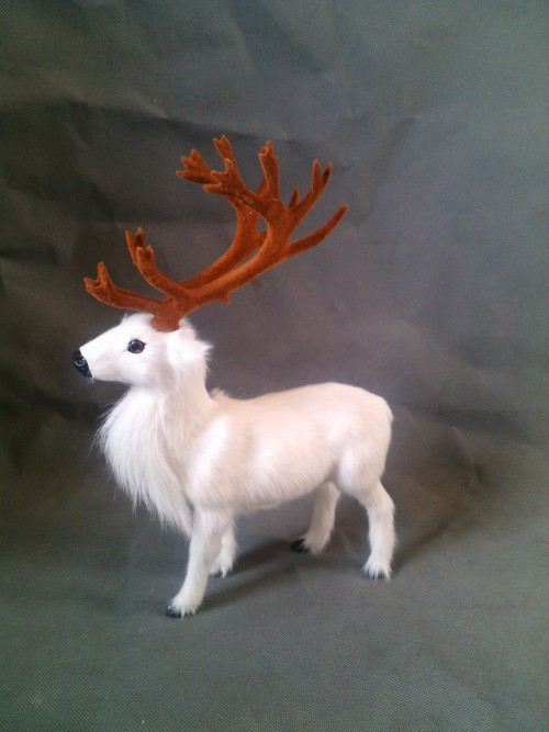 ФОТО simulation white Reindeer model 27X20CM toy ,lifelike Reindeer model decoration gift t438