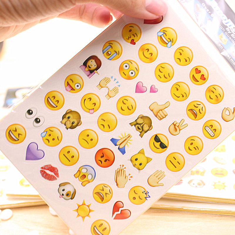 19 Sheets Stickers Hot Popular 912 Cute Lovely Die Emoji Smile Face For Notebook Message Twitter Vinyl Funny Creative Decor Toys