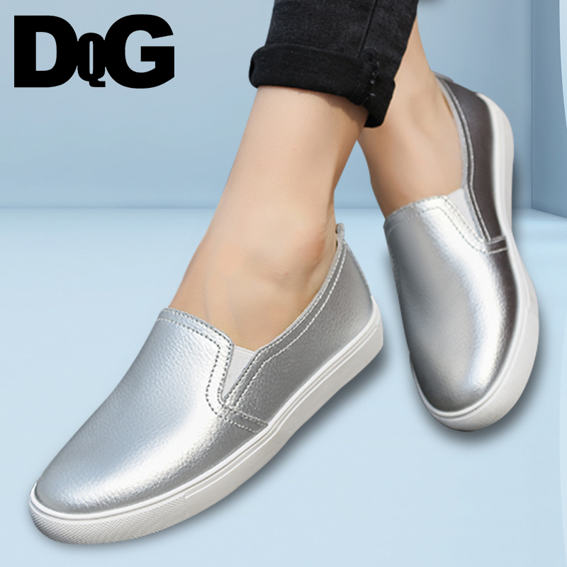 DQG 2018 Spring Women Shoes Casual Flats Loafers Solid Leather Slip On Zapatos Mujer Summer Breathable Shallow Chaussures Femme все цены