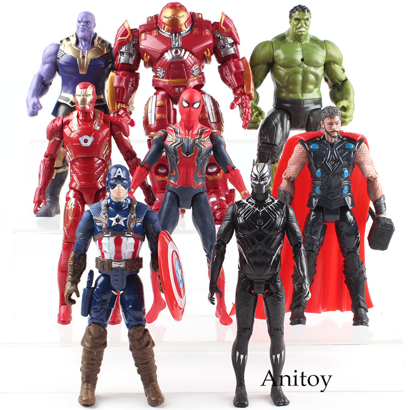 Avengers 3 Infinity War Hulk Black Panther Thor Captain America Spiderman Thanos Iron Man Hulk Buster PVC Action Figure Toy kids nations avengers age of ultron hulk buster iron man thor captain america q version action figures 5pcs set kb0383