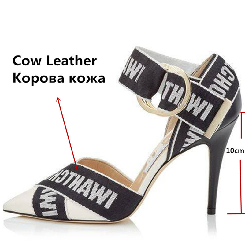 COVIBESCO 2019 Summer Thin Heels Fashion Pointed Toe Buckle Women Sandals Sexy Elegant Genuine Leather Party Prom Shoes Woman-in High Heels from Shoes    3