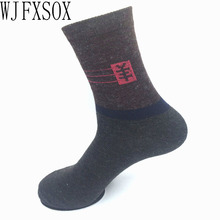 WJFXSOX Winter Combed Cotton Men Socks Male Casual In Tube Wool Socks Men Fashion Colorful Dress Business Socks meias masculinas(China)