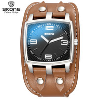 SKONE Top Luxury Brand Fashion Men S Quartz Sport Wristwatch Casual Rivet Decoration Wide Leather Strap