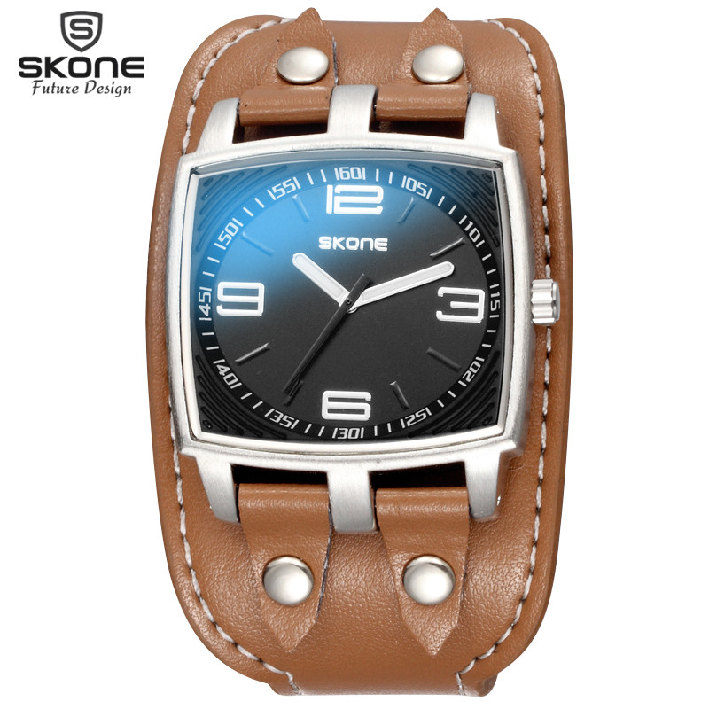 SKONE Top Luxury Brand Fashion Men's Quartz Sport Wristwatch Casual Rivet Decoration Wide Leather Strap Watch Relogio Masculino skone relogio 9385