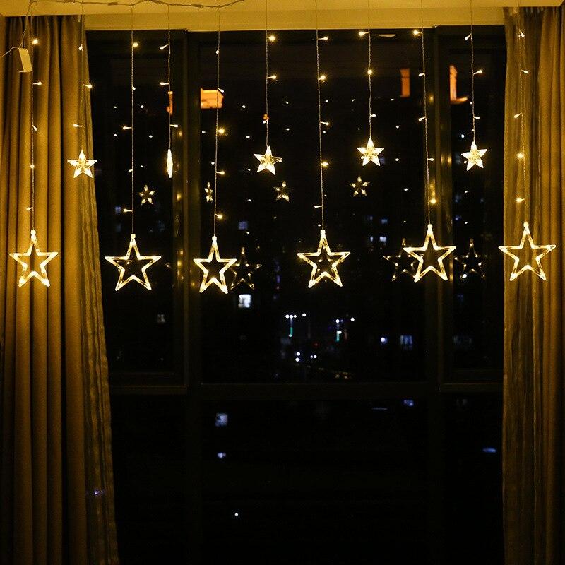 Cutains JSEX CONDUZIU a Iluminação Corda Luzes 2.5m Estrela Iluminação Do Feriado Luzes De Fadas À Prova D' Água Negócio Natal Guirlanda Decoração