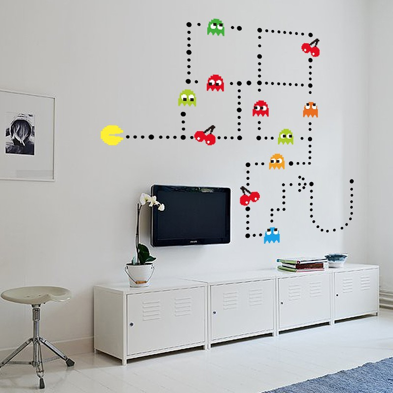 Classic cartoon game PAC baby MAN wall stickers for children's room PAC-MAN home decoration wall decals 2018 new
