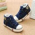 Venda quente de Inverno crianças Sapatos Casuais Além de Veludo crianças Lona tênis Jeans Meninos Flats Meninas Botas Denim Quente Zíper Lateral sapatos