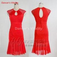 New Custom Made Women Latin Dance Dress Sexy Slim Red Pleated Skirt Hollow Skirts Latin Salsa