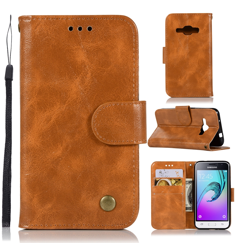 Galleria fotografica Leather Wallet For Coque Samsung Galaxy J1 2016 Case Flip Cover For Samsung Galaxy J1 2016 Phone Cases Capinha Etui Hoesje