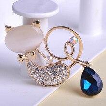 Hot Korea Water Drop Cat Brooch Broches Collar Hijab Pin For Weddings Bridal Brooch Perfume for