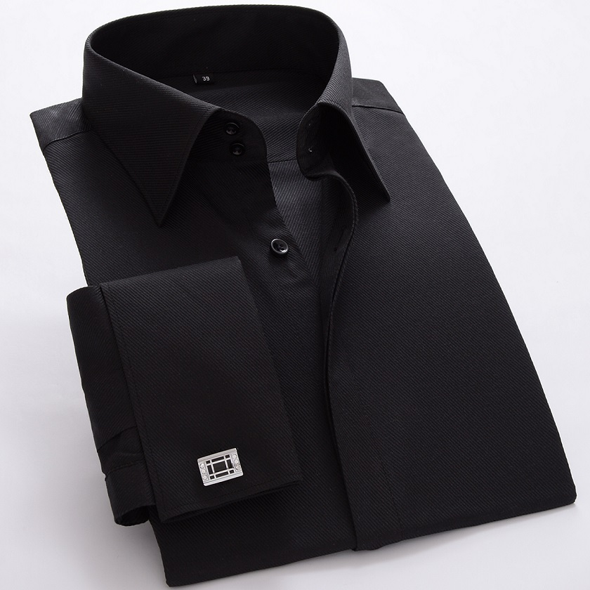 New high quality France cufflink formal dress shirts Long sleeve regular tailoring solid mens tuxedo shirts (Cufflink Included)
