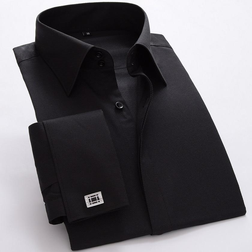 New high quality France cufflink formal dress shirts Long sleeve regular tailoring solid ...