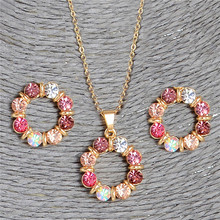 SHUANGR Cute Colorful Crystal Round Charms Pendant with Gold Color Chain Stud Earrings Flower Neckalce Sets For Women Jewelry