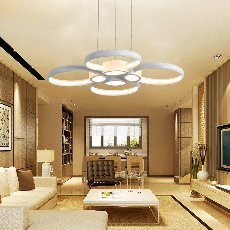 Işıklar ve Aydınlatma'ten Kolye ışıkları'de Modern LED kolye ışıkları oturma yemek odası için DIY asılı aydınlatma armatürleri AC85 ~ 265V alüminyum ev dekorasyon kolye lamba title=