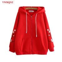 Spring Autumn 2018 Women's Hooded Zip Sweatshirts Coat Large Size Women's Long Sleeve Loose Embroidery Hoodies Sweatshirts Casua