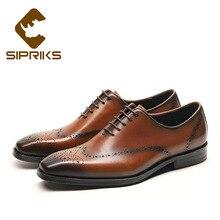 SIPRIKS/Классические мужские оксфорды в стиле ретро из натуральной кожи; Мужские модельные туфли в деловом стиле; офисные коричневые костюмы с квадратным носком