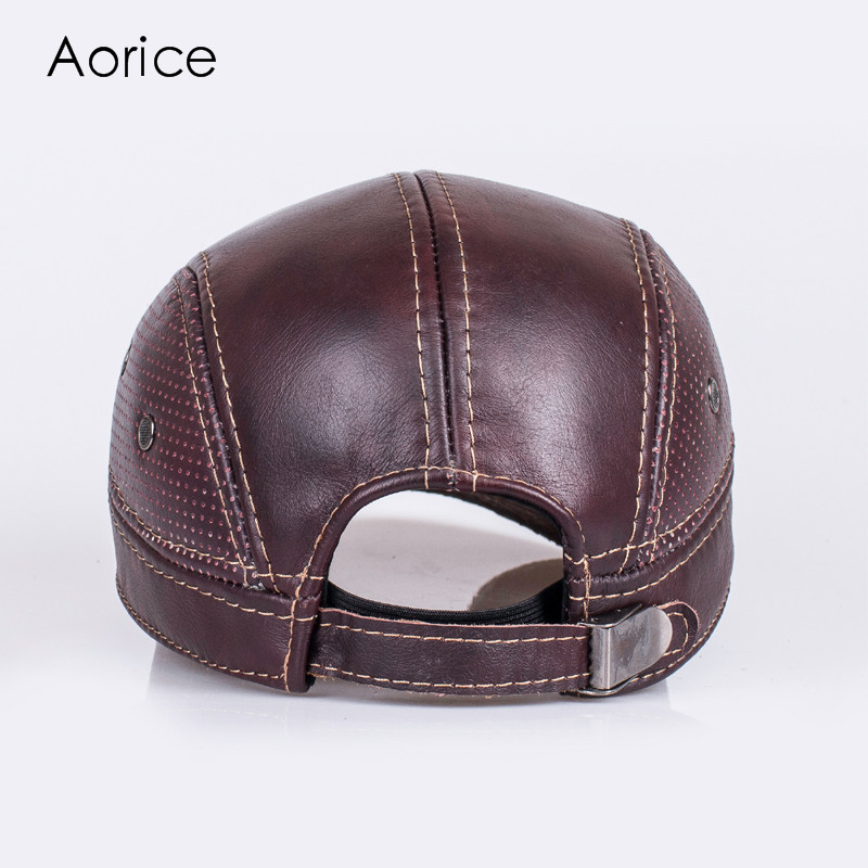 Aorice Autumn Winter Mens  Genuine Leather Baseball Ball Cap Hat Biker  Trucker Sports Brand New Leather Sport Caps Hats HL033-in Baseball Caps  from Apparel ... ae038ac0534