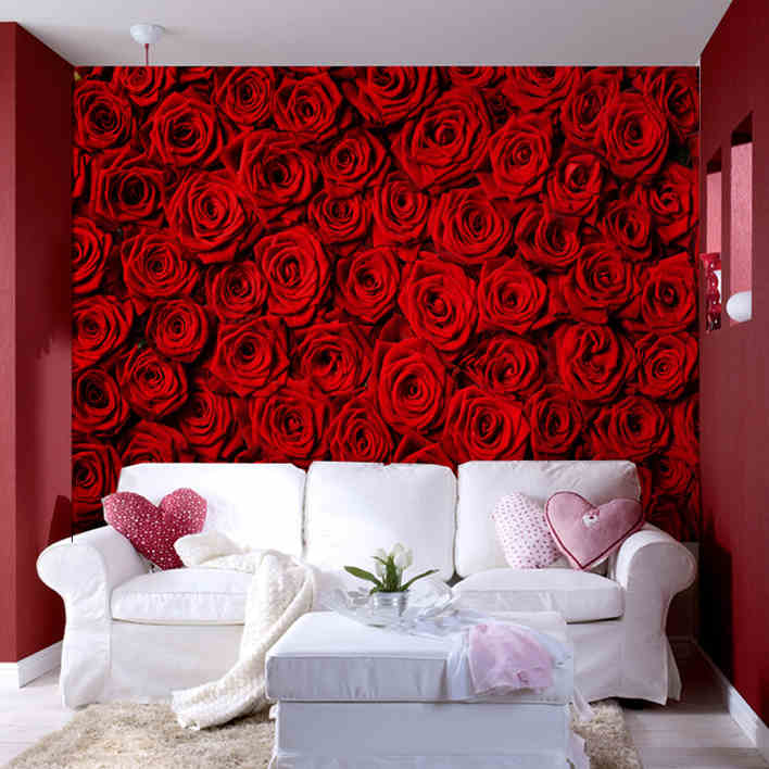 Buy Custom Designer Wallpapers In Sydney: 3D Photo Wallpaper Modern Rose Wall Living Room TV Wall