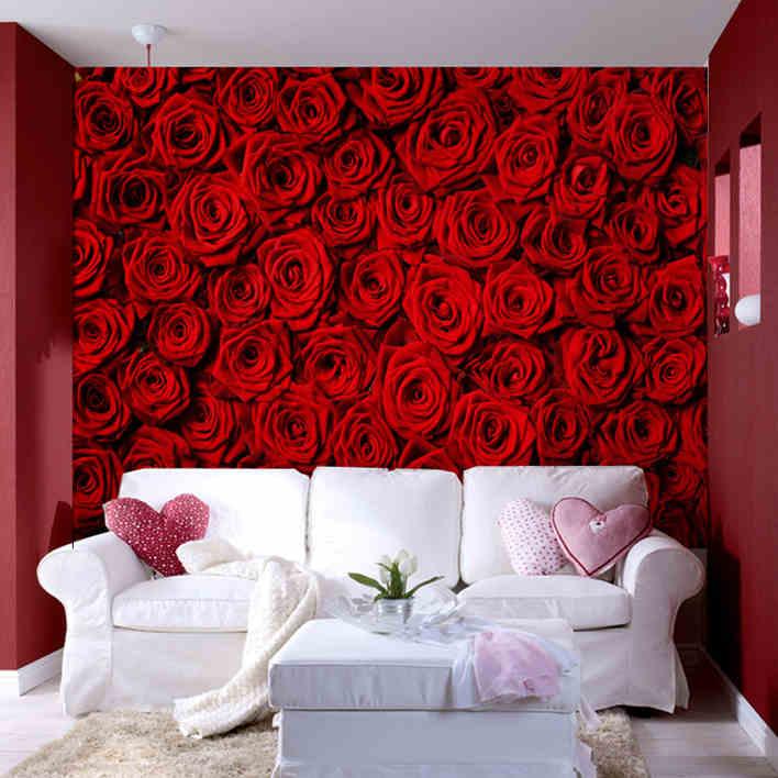 3D photo wallpaper modern Rose Wall living room TV wall