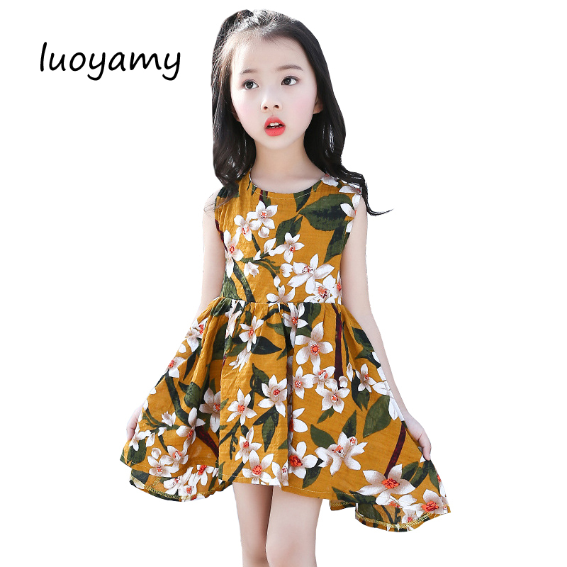 luoyamy 2017 Summer Girls Backless Dress Floral Printed Clothing Children Party And Wedding Kids Bow Beach Princess Dresses bow floral girls dresses children