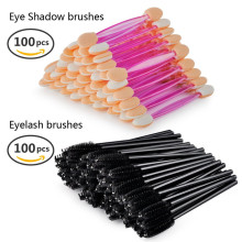 100 PCS Dual Sided Soft Eye shadow Brush Sponge +100 PCS Eyelash Mascara Applicator Combo, Disposable Make up tool kits