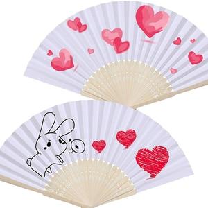 Image 5 - 50 pz/lotto Bianco di Bambù Pieghevole Tasca di Carta A Mano Cinese Fan Fan Favori di Nozze Regali Di Compleanno Decorazione Del Partito Complementi Arredo Casa 21 centimetri