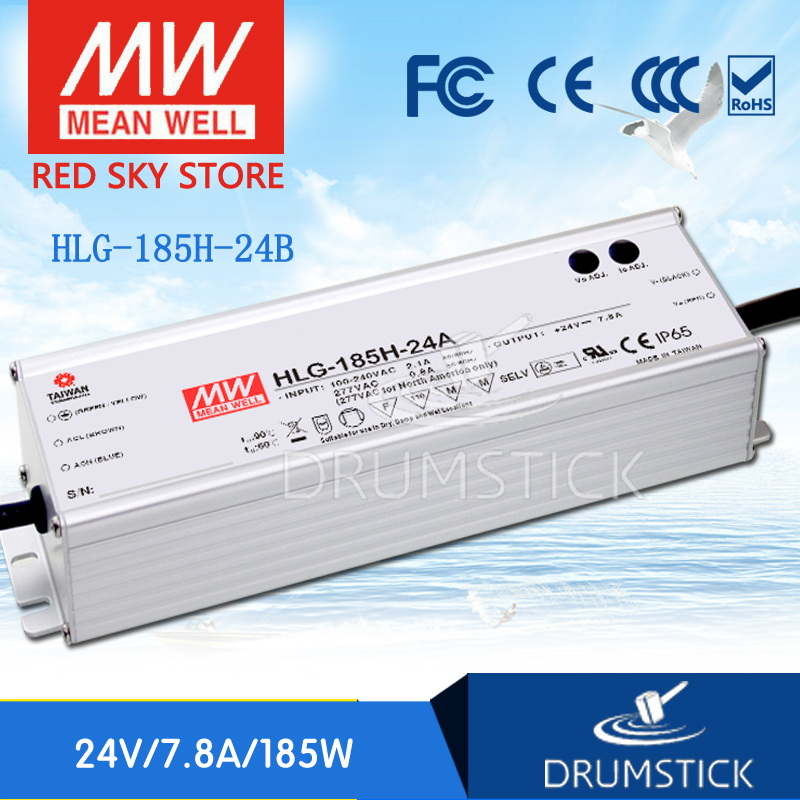 MEAN WELL HLG-185H-24B 24V 7.8A meanwell HLG-185H 24V 187.2W Single Output LED Driver Power Supply B type [nc b] mean well original hlg 120h 54a 54v 2 3a meanwell hlg 120h 54v 124 2w single output led driver power supply a type