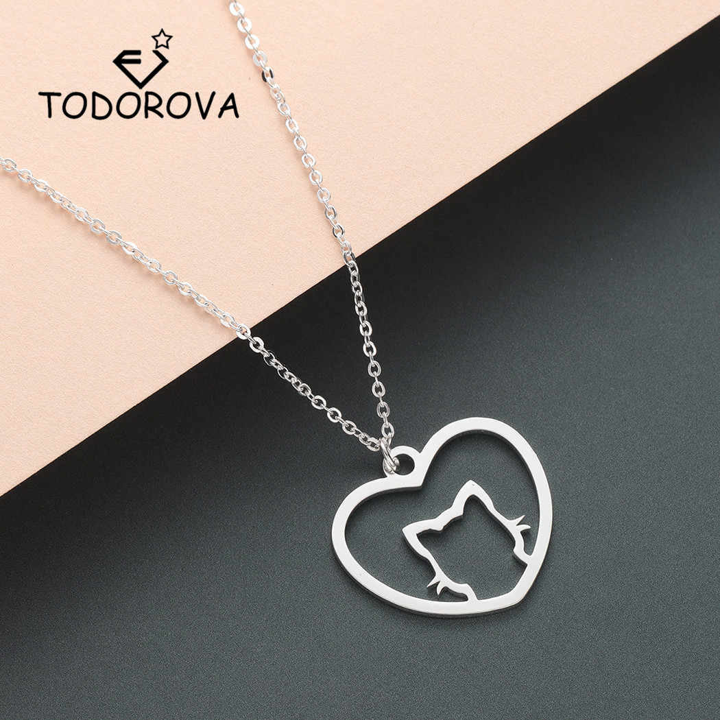 Todorova Cat Face Pendant Necklace Women Cute Animal Jewelry for Pets Lovers Gift Heart Necklaces & Pendants for Girls