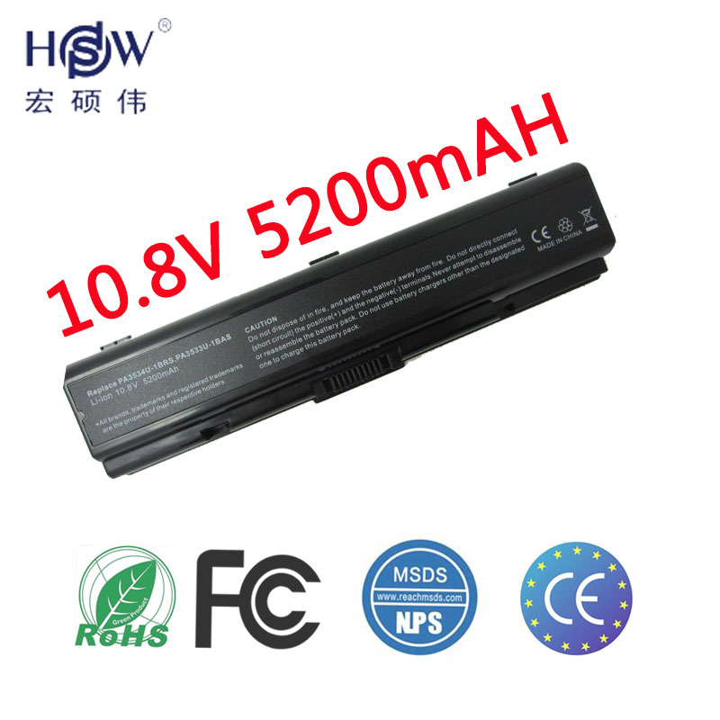 HSW 6CELL PA3534U-1BRS PA3533U-1BRS Laptop Battery 5200mAh For Toshiba Satellite A200 A205 A210 A215 A300 L300 M200 bateria akku laptop battery for toshiba pa3465u 1brs pa3457u 1brs pabas067 for toshiba satellite m50 m70 a100 a110 a135