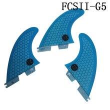 Surf Fins FCS2 G5 M Size Blue Surfboard Honeycomb Tri fin set fcs Fibreglass