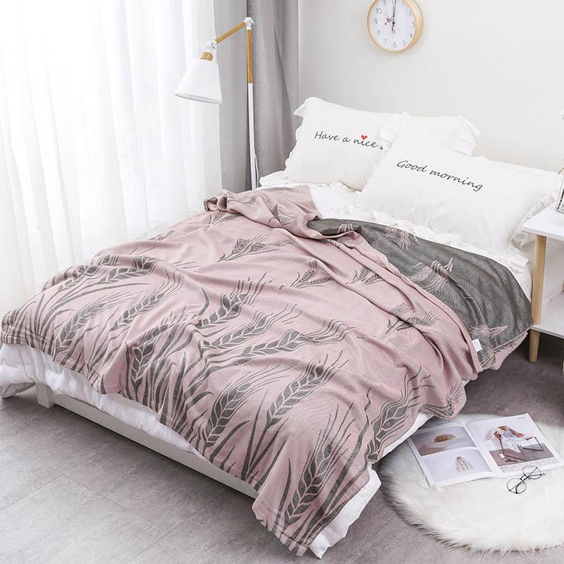 Хлопковое муслиновое летнее одеяло для кровати, дивана, дышащего стиля, мягкое одеяло для пикника, путешествий - Цвет: P