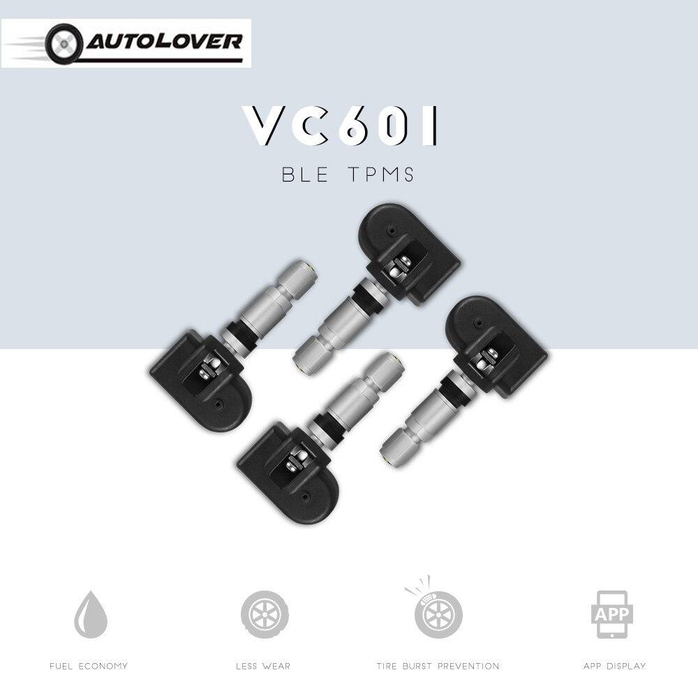 VC601 BLE TPMS APP Display Waterproof 4 Internal Sensors Air Leakage Alarm Bluetooth Low Energy Car Tire Pressure Monitor System