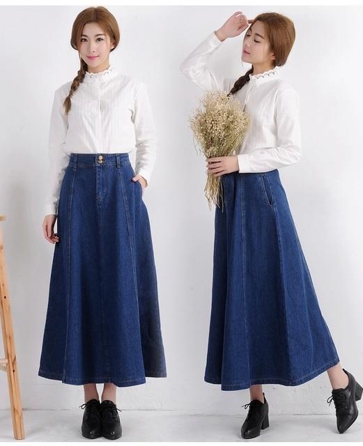 830a6e12c48 2018 New Korean Preppy Style Women High Waist Big Pockets Denim Long Skirt  Fashionable Casual Blue