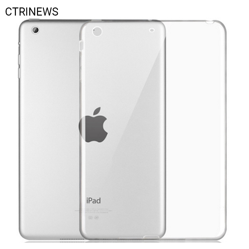 For iPad Air Air 2 Tablet Case Crystal Clear Transparent Soft TPU Silicon Case Back Cover For iPad 4 Mini Protective Cases Coque new tpu pvc protective back case cover for ipad mini grey