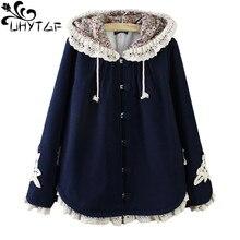 UHYTGF осенне-зимнее женское пальто Новое Кружевное шерстяное пальто с капюшоном Свободный плащ большого размера шерстяное пальто плотная теплая верхняя одежда 689
