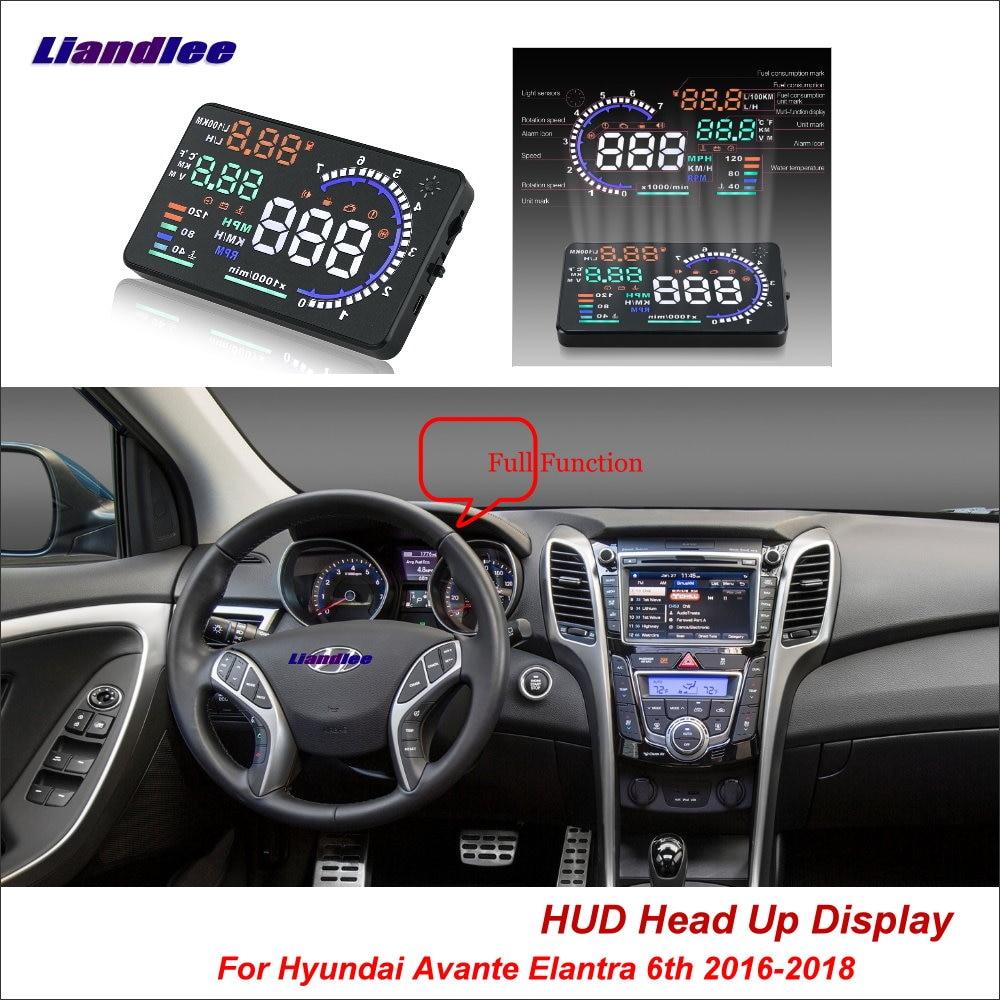 Liandlee Car HUD Head Up Display For Hyundai Avante Elantra 6th 2016-2018 Safe Driving Screen OBD Projector Windshield