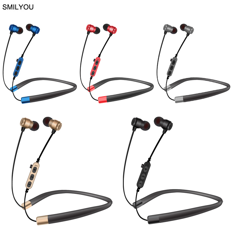 SMILYOU T21 Bluetooth Earphone Neckband Earphone Sweatproof Magnet Stereo Wireless Headphones With Mic For Xiaomi iPhone Android new sport bluetooth earphone headphones with magnet attraction neckband stereo wireless bluetooth headset with mic