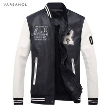 Varsanol Brand Men's Bomber Jackets Windbreaker Coats Embroidery Logo Baseball Collar Male Full Sleeve Winter Leather Outerwear