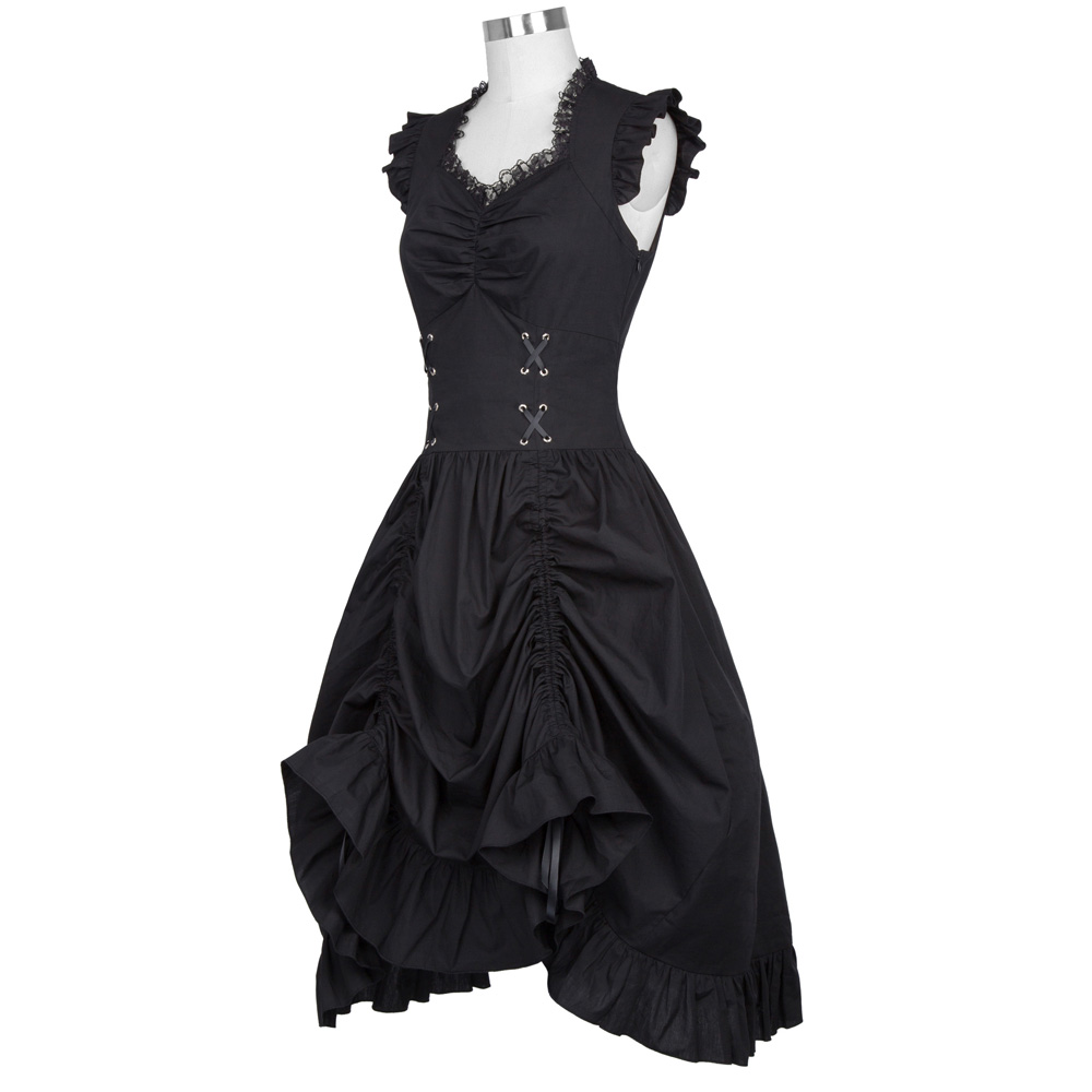 Belle Poque Women Sleeveless V-Neck Lace-up Corset Ruffle Dress 2018 Retro Vintage Steampunk Black Punk Gothic Victorian Dress 8