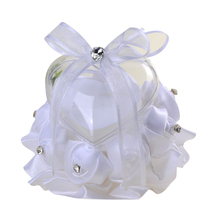 White Rose Flowers Bow Heart Shaped Clear Plastic Ring Box Pillow Valentine's Day Gift Ring Cushion Bridal Wedding Decor heart shaped wedding ring pillow artificial rose flowers crystal fake pearls decor ring holder d1 decor