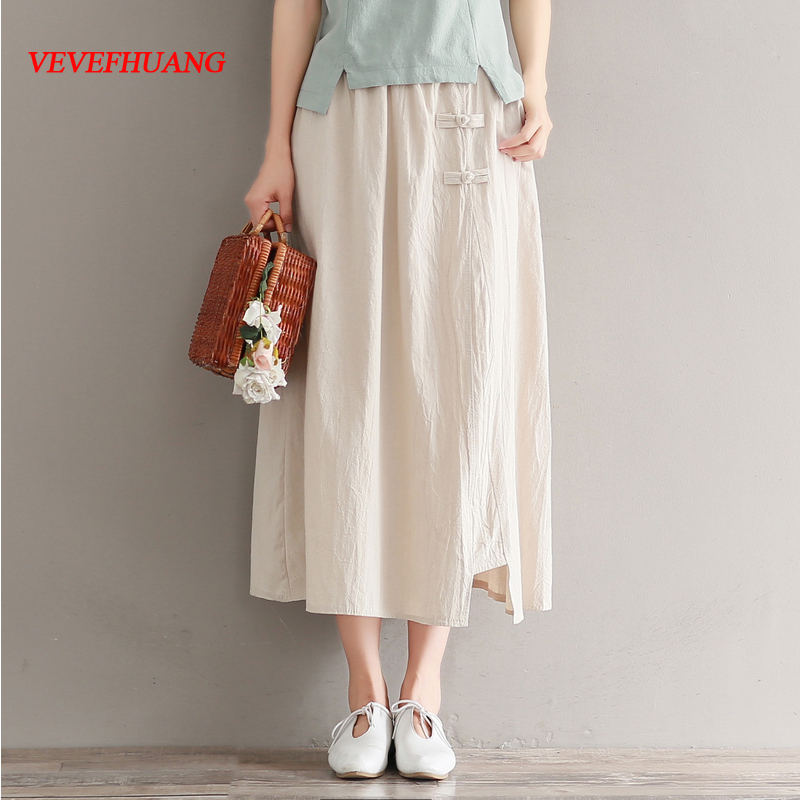 new summer pure color stitching long skirts women elastic waist cotton and linen skirt apricot/red vintage retro saias