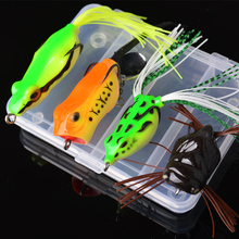 TOMA 4pcs Frog Fishing Lures Kit Noise sequins 5g-11g Snakehead Lure Soft Bait Topwater Frog Lure with Box Fishing Tackle