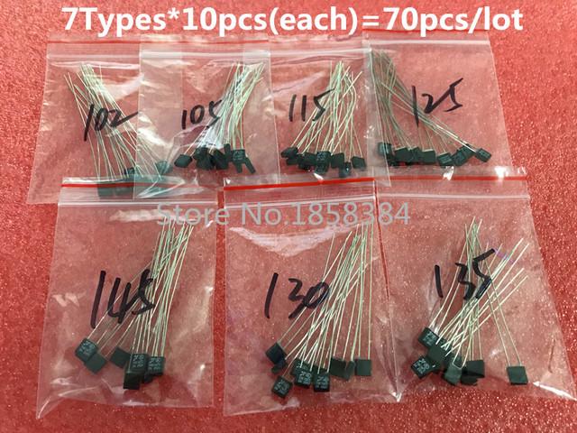 7Types=70pcs/lot  RH102  RH105 RH115 RH125 RH130 RH135 RH145 Degree Thermal Fuse 2A 250V