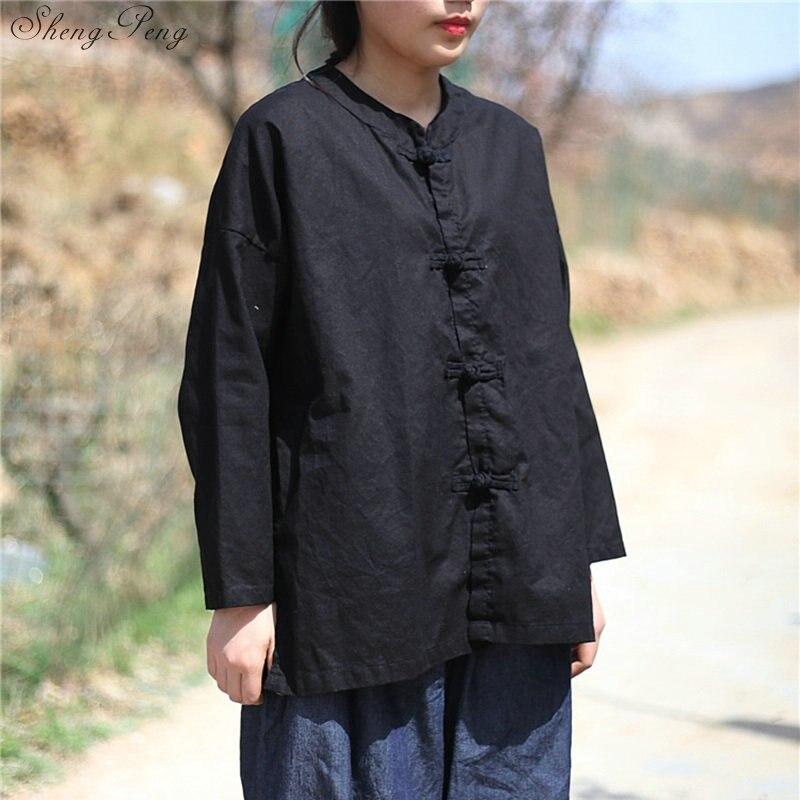 Vêtements chinois traditionnels décontracté hauts amples blouse marché chinois en ligne traditionnel chinois petit haut Q329 - 3