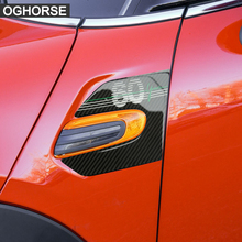 2 Pieces Genuine Carbon Fibre Car Styling Side Wing Scuttle Fender Decal Stickers Cover for BMW Mini Cooper F55 F56 Accessories
