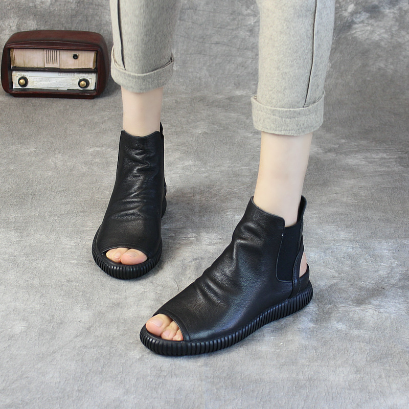 Tyawkiho Genuine Leather Women Ankle Boots Sandals Black Fish Mouth Low Heel Summer Shoes 2018 Boots Handmade Leather Sandals tyawkiho genuine leather women sandals low heel white casual leather summer shoes 2018 handmade women leather sandal soft bottom