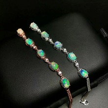 все цены на shilovem 925 sterling silver opal link bracelet fine jewelry sport party new 5*7mm women gift fine yhl050701ago онлайн